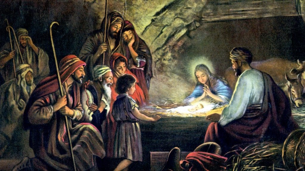 The Birth of Jesus Christ stock illustration. Illustration